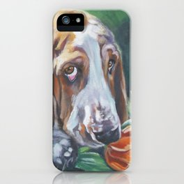 Beautiful Basset Hound dog portrait art an original painting by L.A.Shepard iPhone Case