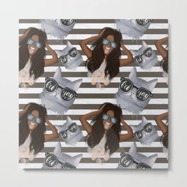 African American Girl With Glasses Friyay And Cat With Glasses Friyay Pattern Metal Print
