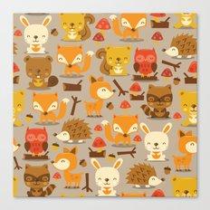 Super Cute Woodland Creatures Pattern Canvas Print