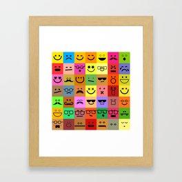 Square Emoji Faces Framed Art Print