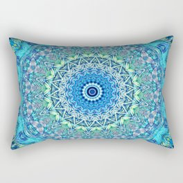 Colorful mandala in turquoise, blue and mint Rectangular Pillow