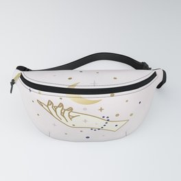 Magical hand and moon illustration Fanny Pack