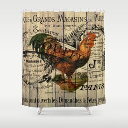 vintage typography barn wood shabby french country poulet chicken rooster Shower Curtain