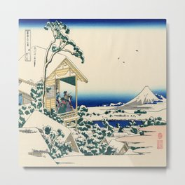 Katsushika Hokusai's Tea house at Koishikawa, the Morning after Snowfall Metal Print