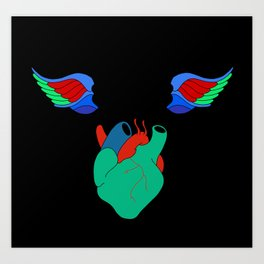 Skull Birds With Heart Art Print