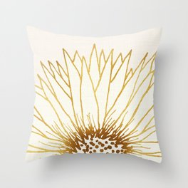 Gold Sunflower II - Wide Pastel Metallic Palette Throw Pillow