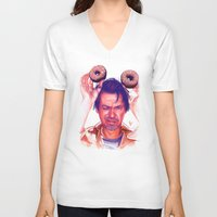 actor V-neck T-shirts featuring Steve Buscemi and donuts by Thubakabra