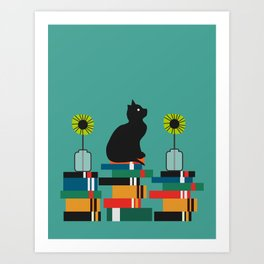Cat, books and flowers Art Print