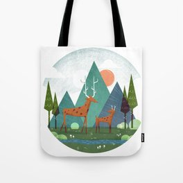 Deer and son Tote Bag