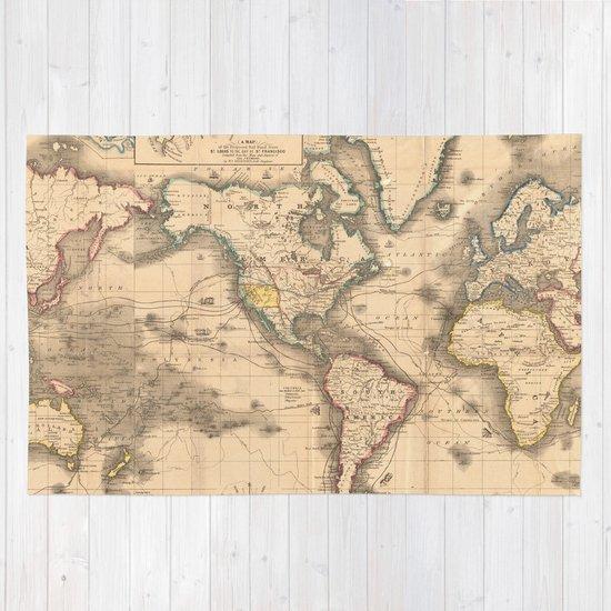 Vintage Map Of The World 1850 Rug By Bravuramedia Society6