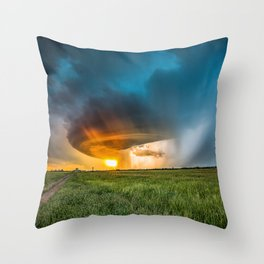 Invasion - Colorful Storm Invading Central Oklahoma Plains Throw Pillow