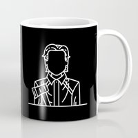 american psycho Mugs featuring Patrick Bateman, the American Psycho (Black Background) by Sofia Ayuso