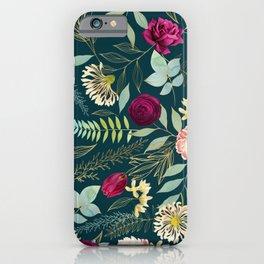 Isobel Floral Midnight Teal - Rose, Peony, Jasmine iPhone Case