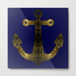Yellow Gold sparkles Anchor on Dark navy blue Metal Print