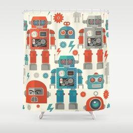 Retro Space Robot Seamless Pattern Shower Curtain