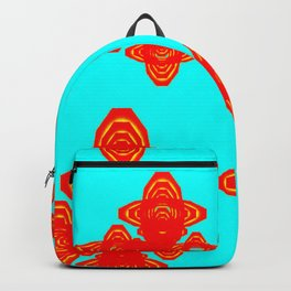 Retro Red Decorative Shapes on Turq Background Backpack