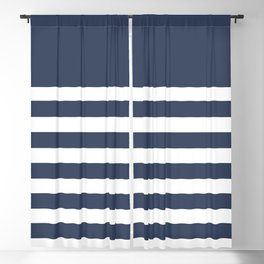 Blue Bretton Stripe Art Blackout Curtain