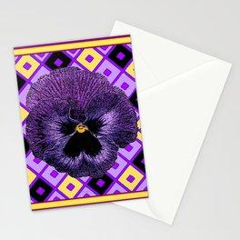 Yellow & Purple Checkered Pansy Pattern Stationery Cards