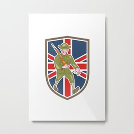 World War One Soldier British Marching Cartoon Shield Metal Print