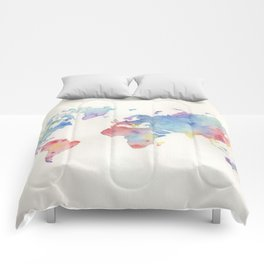 Watercolour world map Comforters