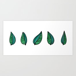 Colorful water leaves Art Print