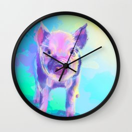 Once Upon a Pig - digital painting Wall Clock