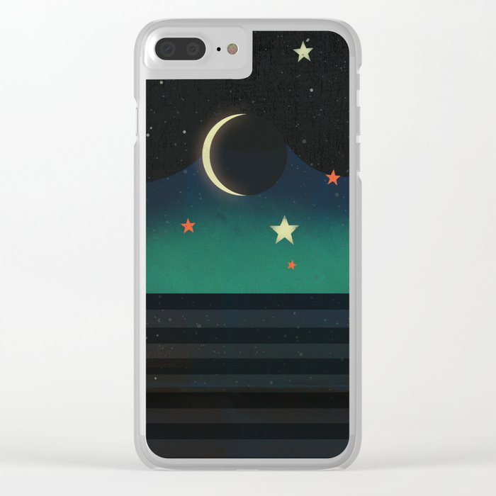 Abstract Moonscape Clear iPhone Case