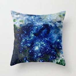 Midnight Blue Green Sparkle Stars Throw Pillow