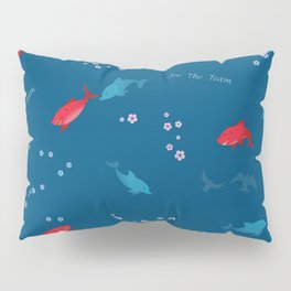 Blue Dolphin and Red Shark Pillow Sham