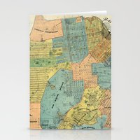 san francisco map Stationery Cards featuring Vintage Map of San Francisco (1915) by BravuraMedia