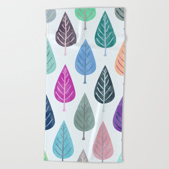 Watercolor Forest Pattern III Beach Towel