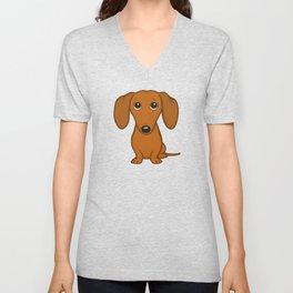 Shorthaired Dachshund Cartoon Dog Unisex V-Neck