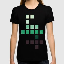 Colorful Teal Turquoise Deep Green Mid Century Modern Minimalist Square Geometric Pattern T-shirt