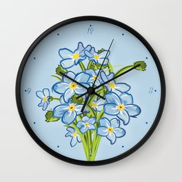 Bouquet of Blossoming Myosotis Flowers Wall Clock