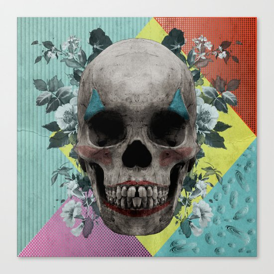skull getting' ready for halloween but didn't quite succeed Canvas Print