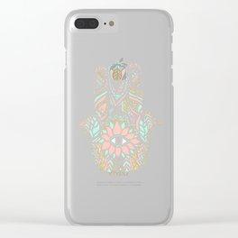 Modern girly pink mint gold Hamsa hand of fatima Clear iPhone Case