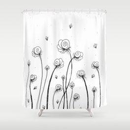 Léa Flowers Garden Doodle Art Shower Curtain