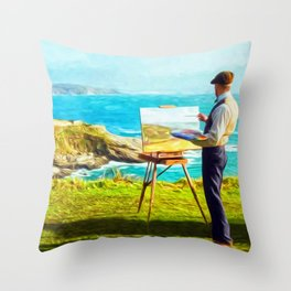 Leisurely Landscaping Throw Pillow
