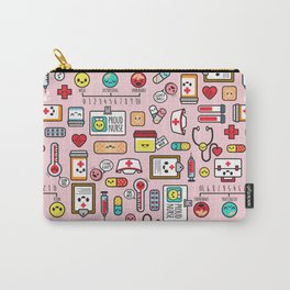 Proud To Be A Nurse pattern in pink Carry-All Pouch