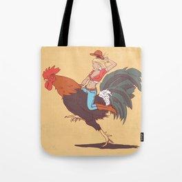 Girl Riding a Cock Tote Bag