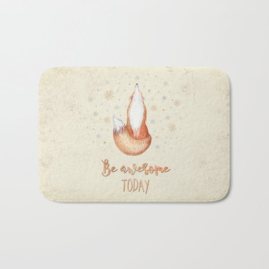 Be awesome today  - Watercolor animal illustration and Typography Bath Mat