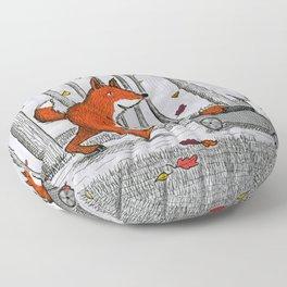 Fox Family Enjoying the Fall Leaves Floor Pillow