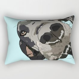 Great Dane in your face (teal) Rectangular Pillow