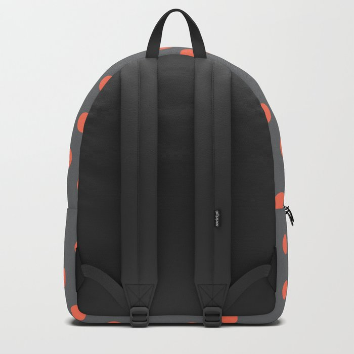 Simply Dots Deep Coral on Storm Gray Backpack