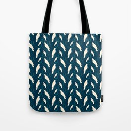 Kereru and magnolia - navy  Tote Bag