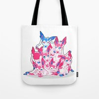sylveon Tote Bags featuring Sylveon Pile by SilviShinyStar