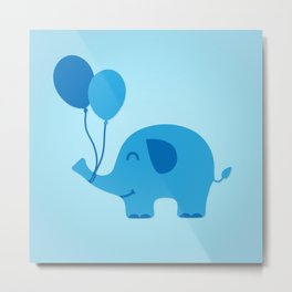 Sweet & Funny Minimal Baby Elephant with Balloons Metal Print