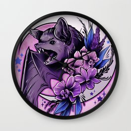 Bat and Orchids Wall Clock