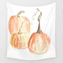 Thankful Twisted Stem Pumpkins (in watercolor) Wall Tapestry