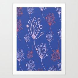 floral blue chalk contemporary Art Print